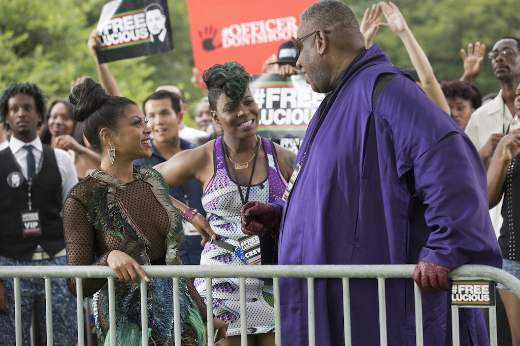 "Pictured L-R: Taraji P. Henson as Cookie Lyon, Ta'Rhonda Jones as Porsha and guest star André Leon Talley in the ""The Devils Are Here"" Season Two premiere episode of EMPIRE. Cr: Chuck Hodes/FOX."