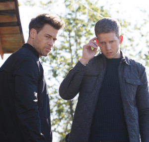 """MINORITY REPORT: L-R: Nick Zano and Stark Sands in the all-new """"Fiddler's Neck"""" episode of MINORITY REPORT airing Monday, Oct. 26 (9:00-10:00 PM ET/PT) on FOX. © 2015 FOX Broadcasting Co. Cr: Michael Caulfield / FOX."""
