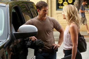 """The Originals -- """"You Hung the Moon"""" -- Image Number: OG302b_0230.jpg -- Pictured (L-R): Jason Dohring as Detective Will Kinney and Leah Pipes as Cami -- Photo: Quantrell Colbert/The CW -- © 2015 The CW Network, LLC. All rights reserved."""