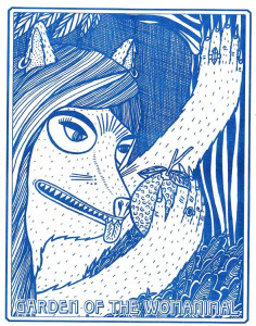 Caroline Paquita, Garden of the Womanimal (cover), 2014; Risograph-printed zine, 6 ¾ x 9 ½ in.; National Museum of Women in the Arts, Betty Boyd Dettre Library and Research Center