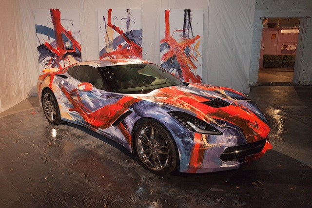 "A 2014 Chevrolet Corvette Stingray was transformed into a canvas on wheels on Friday, Oct. 10, when three General Motors automotive designers used paint bottles and brushes to create a ""performance art car"" as part of the Museum of Contemporary Art Detroit (MOCAD) Gala Fundraiser. The vehicle will remain on display at the museum."