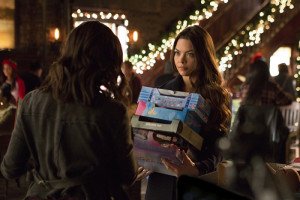 """The Vampire Diaries -- """"Cold as Ice"""" -- Image Number: VD709b_0264.jpg -- Pictured (L-R): Kat Graham as Bonnie (back to camera) and Scarlett Byrne as Nora -- Photo: Eli Joshua Ade/The CW -- © 2015 The CW Network, LLC. All rights reserved."""