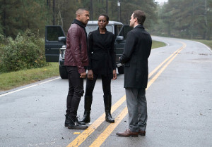 "The Originals -- ""A Ghost Along the Mississippi"" -- Image Number: OG310b_0169.jpg -- Pictured (L-R): Charles Michael Davis as Marcel, Tracy Ifeachor as Aya and Oliver Ackland as Tristan -- Photo: Annette Brown/The CW -- © 2016 The CW Network, LLC. All rights reserved."