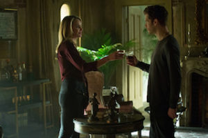 "The Originals -- ""No More Heartbreaks"" -- Image Number: OG318b_0059.jpg -- Pictured (L-R): Leah Pipes as Cami and Joseph Morgan as Klaus -- Photo: Bob Mahoney/The CW -- © 2016 The CW Network, LLC. All rights reserved."