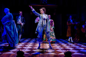 """""""They've put a woman on the stage!"""" Nell Gwynn (Alison Luff) becomes a stage sensation in England. (Also pictured l to r: Catherine Flye, Quinn Franzen, Christopher Dinolfo, Kevin Collins.) Photo by Brittany Diliberto."""