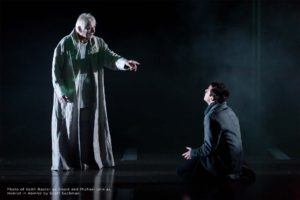 Photo of Keith Baxter as Ghost and Michael Urie as Hamlet in Hamlet by Scott Suchman.