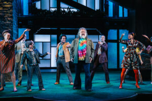 The cast of Folger Theatre's The Merry Wives of Windsor in song, 1970s-style. On stage January 14 – March 1, 2020. Photo by Cameron Whitman Photography
